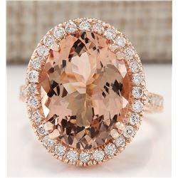 8.26 CTW Natural Morganite And Diamond Ring In 18K Rose Gold