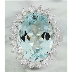12.15 CTW Aquamarine 14K White Gold Diamond Ring