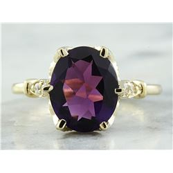 3.41 CTW Amethyst 18K Yellow Gold Diamond Ring