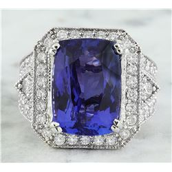 14.10 CTW Tanzanite 18K White Gold iamond Ring