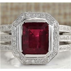 3.86 CTW Natural Red Rubelite And Diamond Ring 18K Solid White Gold