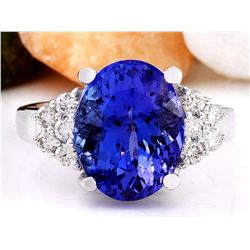 8.40 CTW Natural Tanzanite 14K Solid White Gold Diamond Ring