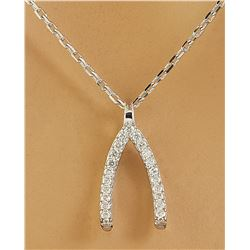 0.11 CTW Diamond 14K White Gold Wishbone Necklace