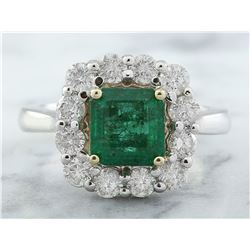 3.15 CTW Emerald 18K White Gold Diamond Ring