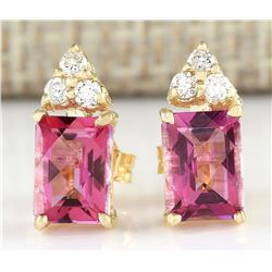 2.65 CTW Natural Pink Tourmaline And Diamond Earrings 18K Solid Yellow Gold