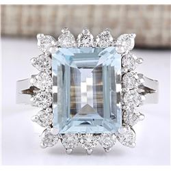 5.08 CTW Natural Aquamarine And Diamond Ring In 14k White Gold