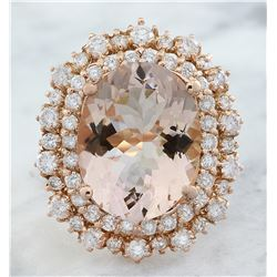 11.22 CTW Morganite 14K Rose Gold Diamond Ring