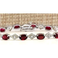 6.24 CTW Natural Red Tourmaline And Diamond Bracelet In 14k Solid White Gold