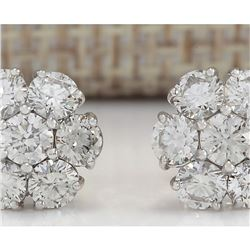 2.02CTW Natural Diamond Earrings 18K Solid White Gold