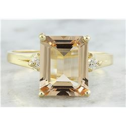 2.26 CTW Morganite 18K Yellow Gold Diamond Ring
