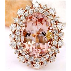 8.15 CTW Natural Morganite 18K Solid Rose Gold Diamond Ring