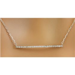 0.25 CTW Diamond 14K White Gold Bar Necklace