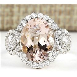 5.64 CTW Natural Morganite And Diamond Ring In 14k White Gold