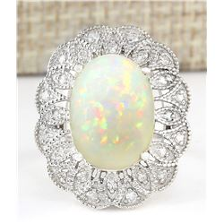 6.32 CTW Natural Opal And Diamond Ring In 18K White Gold