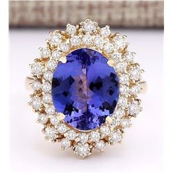 6.95 CTW Natural Tanzanite And Diamond Ring In 18K Yellow Gold
