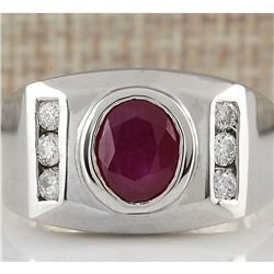 3.77 CTW Natural Ruby And Diamond Ring In 14K White Gold
