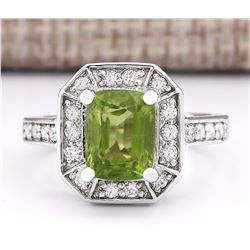 3.67 CTW Natural Peridot And Diamond Ring In 18K White Gold