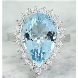 7.65 CTW Aquamarine 14K White Gold Diamond Ring