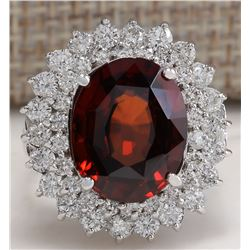 11.01 CTW Natural Hessonite Garnet And Diamond Ring 18K Solid White Gold