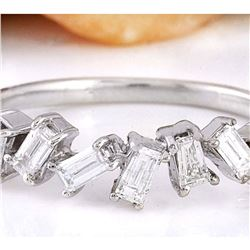 0.70 CTW Natural Diamond 14K Solid White Gold Ring