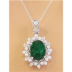 3.14 CTW Natural Emerald 18K Solid White Gold Diamond Pendant Necklace