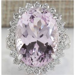 22.00 CTW Natural Kunzite And Diamond Ring In 18K White Gold
