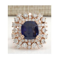 7.46 CTW Natural Blue Sapphire Diamond Ring 14K Solid Rose Gold