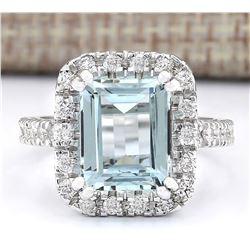 5.63 CTW Natural Aquamarine And Diamond Ring In 14k White Gold