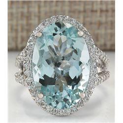 9.54 CTW Natural Blue Aquamarine Diamond Ring 18K Solid White Gold