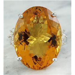 23.65 CTW Citrine 18K White Gold Diamond Ring