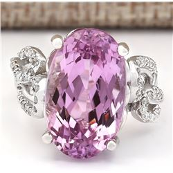 13.86 CTW Natural Kunzite And Diamond Ring In 18K White Gold