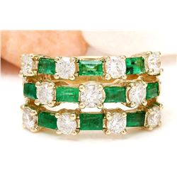 2.70 CTW Natural Emerald 14K Solid Yellow Gold Diamond Ring