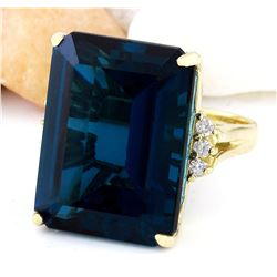 37.88 CTW Natural Topaz 14K Solid Yellow Gold Diamond Ring