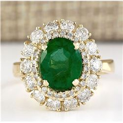 3.60 CTW Natural Emerald And Diamond Ring In 14k Yellow Gold