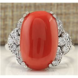 9.25CTW Natural Coral And Diamond Ring In 18K White Gold
