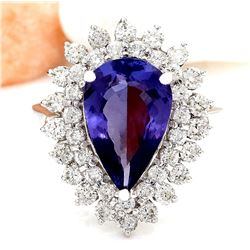 5.73 CTW Natural Tanzanite 18K Solid White Gold Diamond Ring