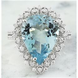 7.80 CTW Aquamarine 14K White Gold Diamond Ring