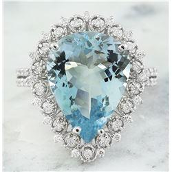 7.80 CTW Aquamarine 14K White Gold Diamond Ring