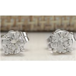 0.68CTW Natural Diamond Earrings 18K Solid White Gold