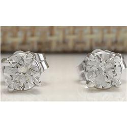 0.68CTW Natural Diamond Earrings 18K Solid White Gold