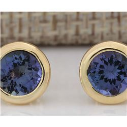 2.60 CTW Natural Tanzanite Earrings 18K Solid Yellow Gold