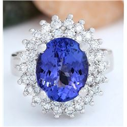 6.22 CTW Natural Tanzanite 18K Solid White Gold Diamond Ring