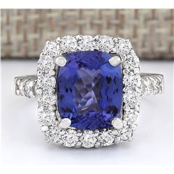 4.95 CTW Natural Blue Tanzanite And Diamond Ring 18K Solid White Gold