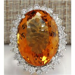 17.30 CTW Natural Citrine And Diamond Ring 14K Solid White Gold
