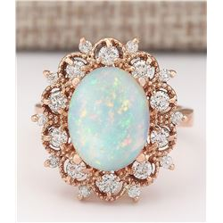 4.15 CTW Natural Opal And Diamond Ring In 14k Rose Gold
