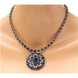 49.88 CTW Natural Sapphire 14K Solid White Gold Diamond Necklace