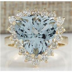 5.84 CTW Natural Aquamarine And Diamond Ring 14K Solid Yellow Gold