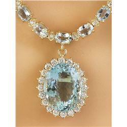 37.30 CTW Aquamarine 14K Yellow Gold Diamond Necklace