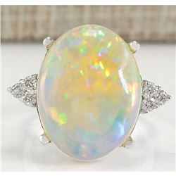 9.37 CTW Natural Opal And Diamond Ring In 18K White Gold