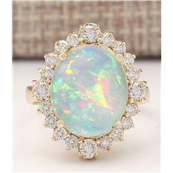 6.53 CTW Natural Opal And Diamond Ring In 18K Yellow Gold